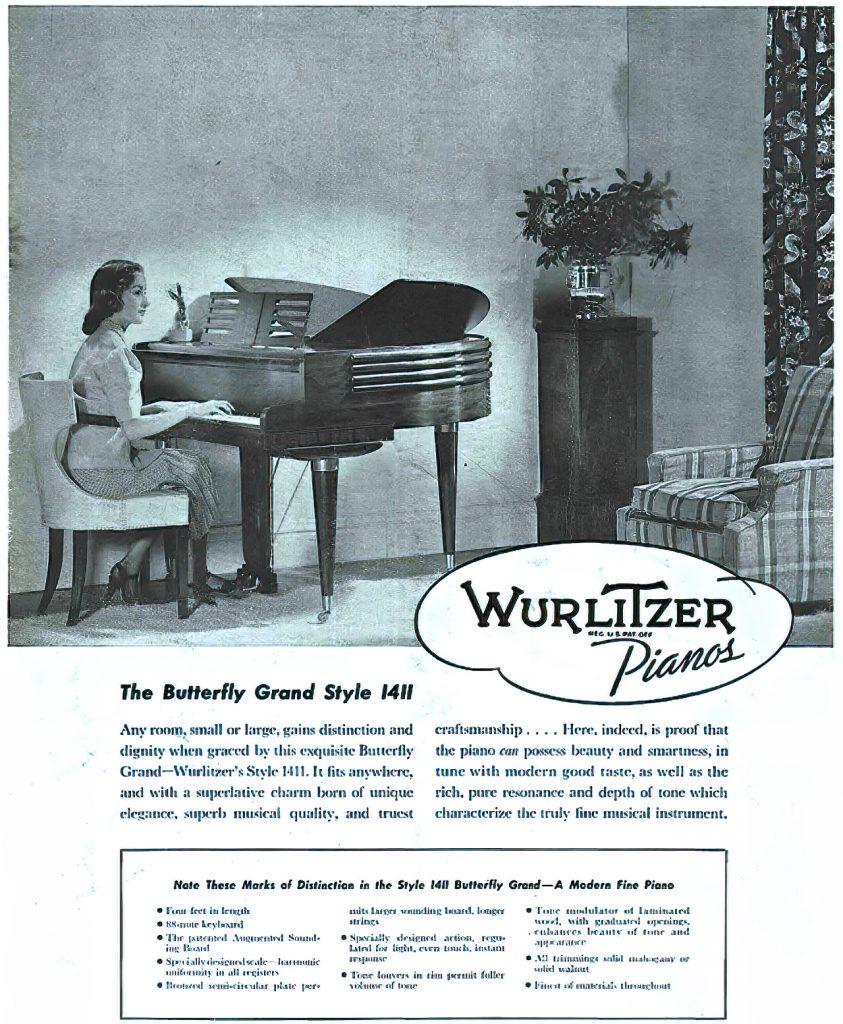 WurlitzerButterfly Grand Piano Advert
